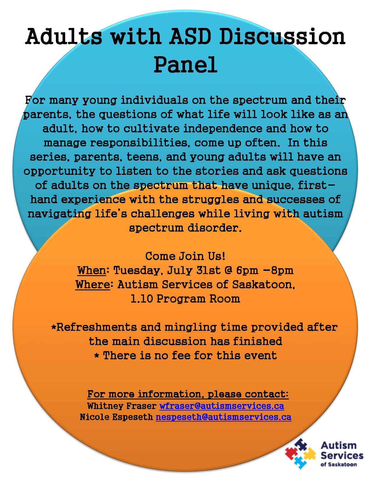 Adults with ASD Discussion Panel Poster 2018