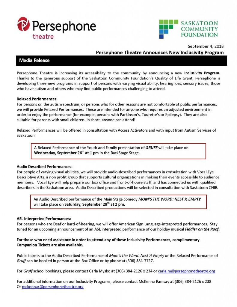 Persephone Inclusivity Programs -  Media Release